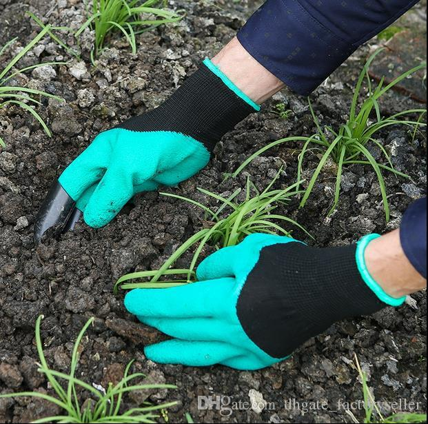Jardim Genie Luvas Com Dedos Garras Escavação Verde e Planta Segura Poda Luvas de Jardim À Prova D 'Água Escavar Luvas OOA1379