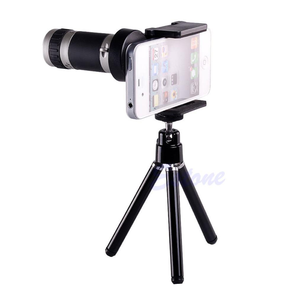 Wholesale- Universal 8X Optical Zoom Telescope Camera Lens Tripod Holder For Mobile Phone