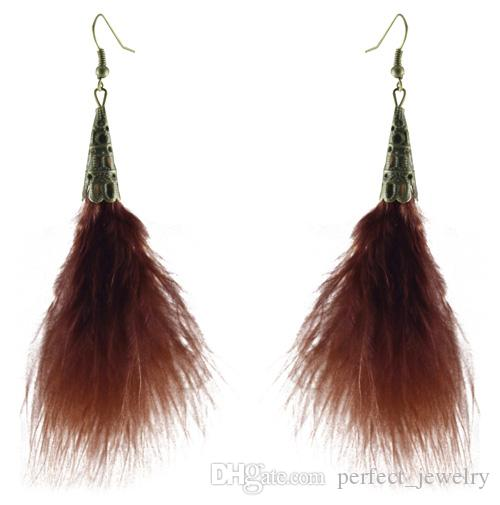 Feather Earrings wholesale Bronze Accessory Charm Light Dangle Eardrop New White Black Orange Green Sky Blue Purple JF099