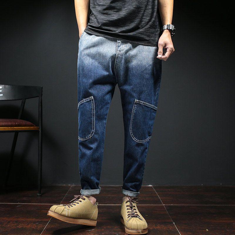 37001239bbe9 2019 Wholesale New 2017 Ankle Length Jeans Men Gradient Color Knee Pockets Men S  Denim Pants Japan Style Fashion Hip Hop Harem Jeans Pants Male From Yanmai
