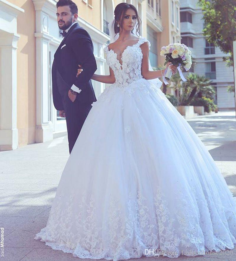 Pictures Of Ball Gown Wedding Dresses: Elegant White Lace Ball Gown Wedding Dresses Plus Size