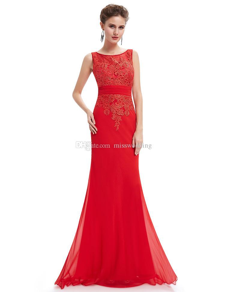 New Fashion Red Chiffon Ladies Long Dress Evening Brand Banquet ...