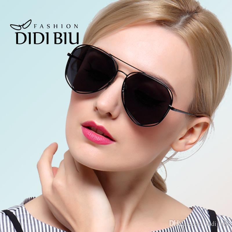 Didi Polarized Aviator Gold Black Sunglasses Women Men Polygon Wire ...