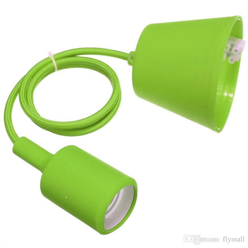 Colorful Silicone Pendant Lights E27 Holder Vintage Modern Fashion DIY Creative Silicone Rubber Pendant Lamps 100cm Cord Base Light Holder