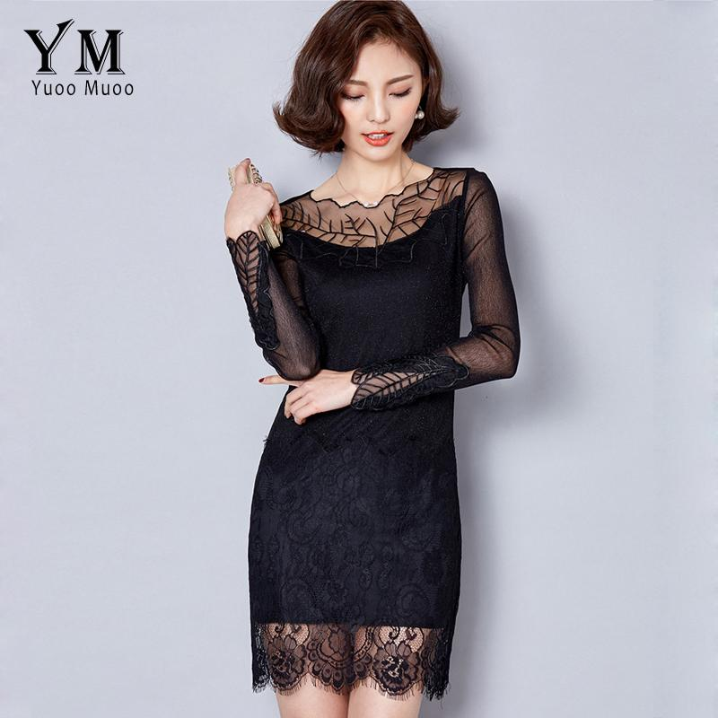 Wholesale- YuooMuoo 2016 New High Quality Embroidery Women Black Dress  Fashion Spring Autumn Lace Dress Plus Size Long Sleeve Korean Dress Dress  Pants Short ... 95756fe228eb