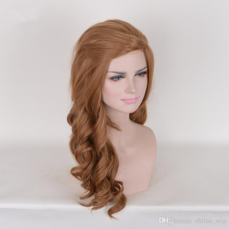 Z&F Ariana Grande Style Fashion Costume Hair 64CM Long Wave Curly Light Brown Synthetic Wigs For Charming Women