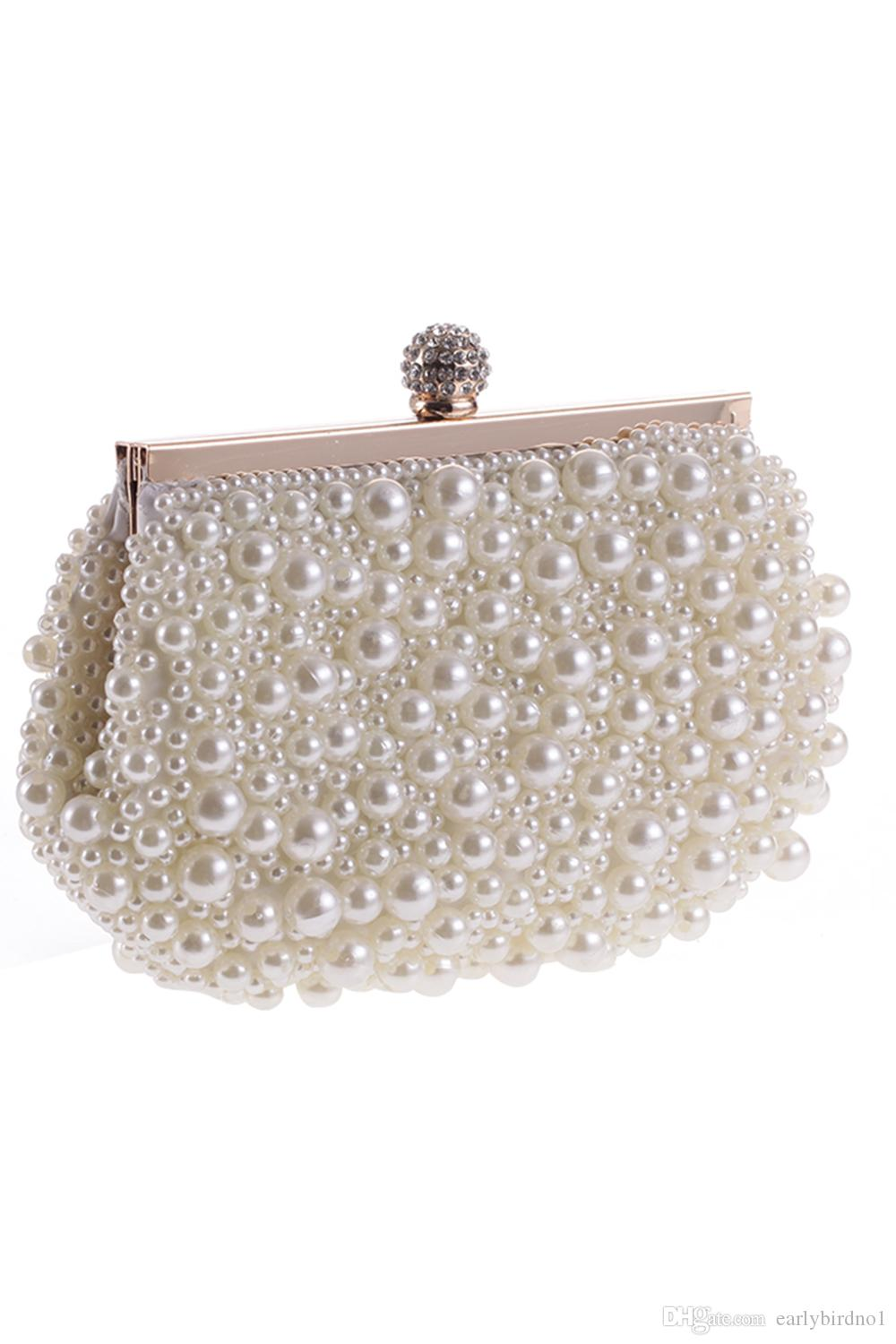 11dcc3c64a2e 2017 Hot Cheap Crystal Pearls Bridal Bags with Chain Women Wedding ...