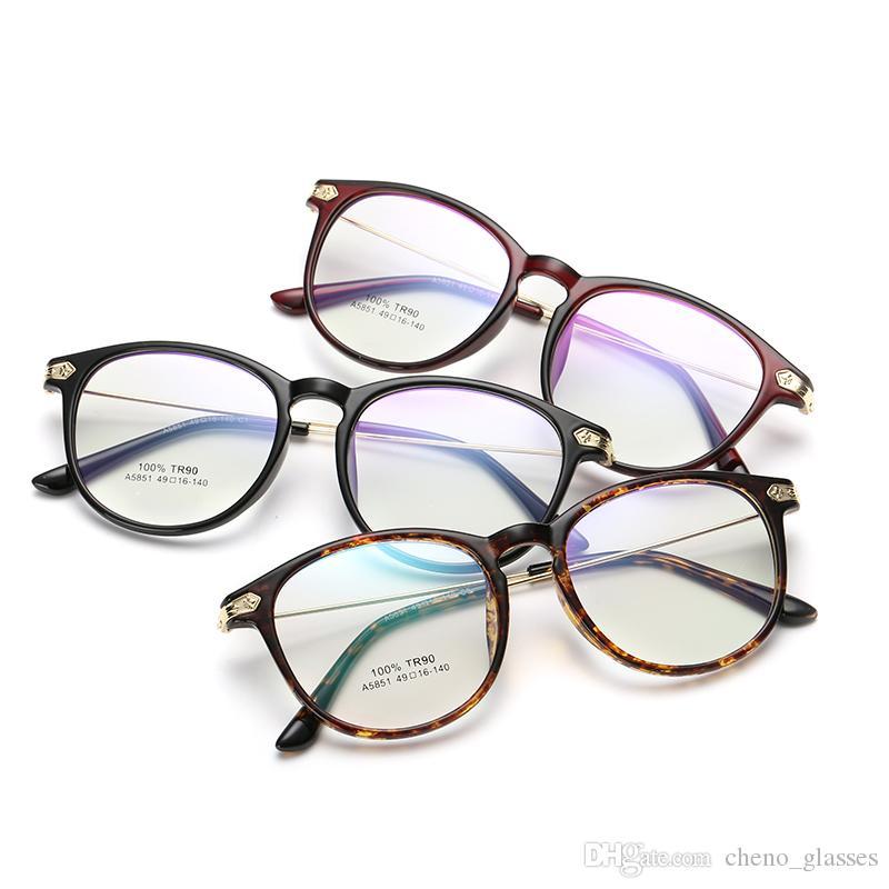 2018 Retro Tr90 Extra Light Optical Frame Women Men\'S Clear Lens ...