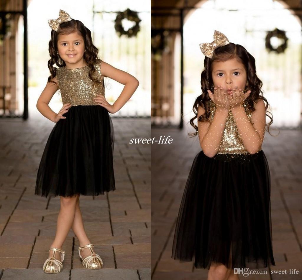 Black Gold Sequins Tulle Flower Girls Dresses For Weddings Children