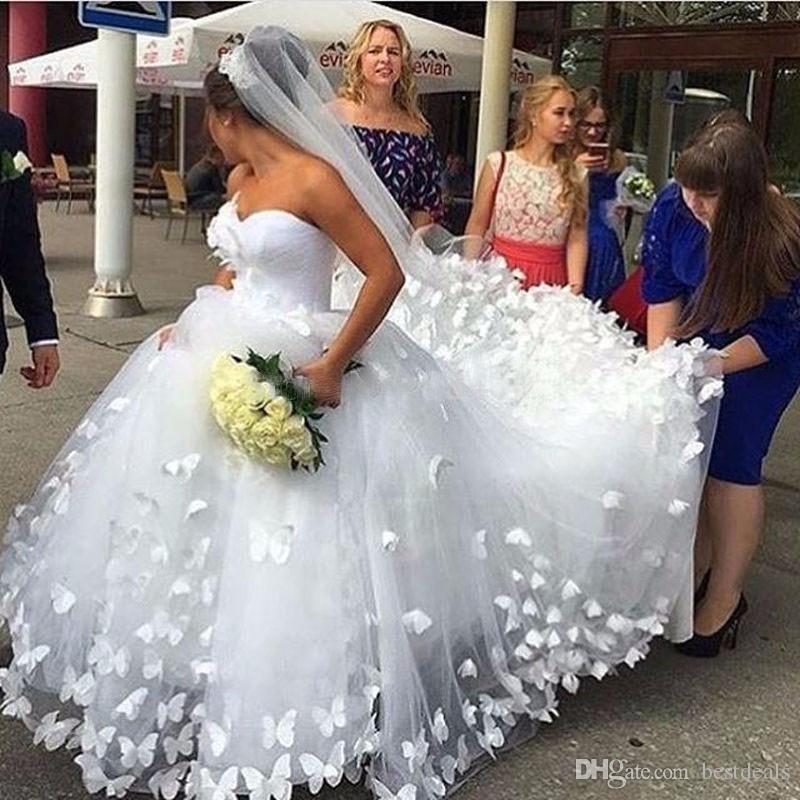 الكرة أثواب فستان الزفاف 2017 اليدوية فراشة الحبيب كاتدرائية قطار داين الزفاف أثواب الزفاف فساتين vestido دي noiva
