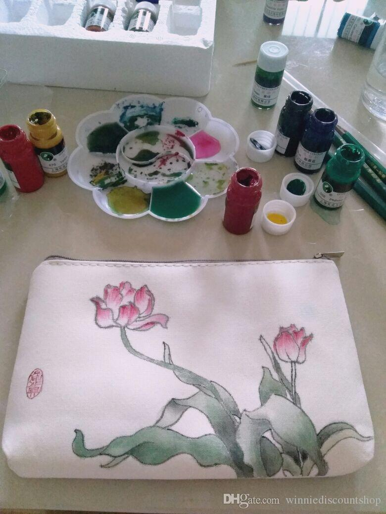 Fashion blank clutch canvas DIY cosmetic makeup bag/canvas makeup bag/plain canvas cosmetic bag/clutch bag