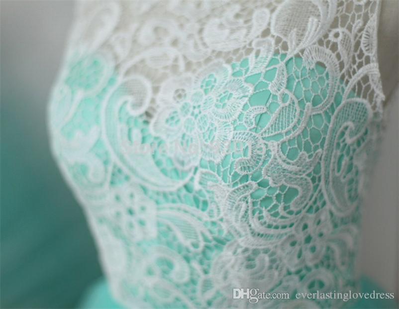 Stokta Sıcak Satış See Through Dantel Beyaz Ve Mavi Gelinlik Modelleri Illusion Geri Seksi Akşam Parti Kıyafeti