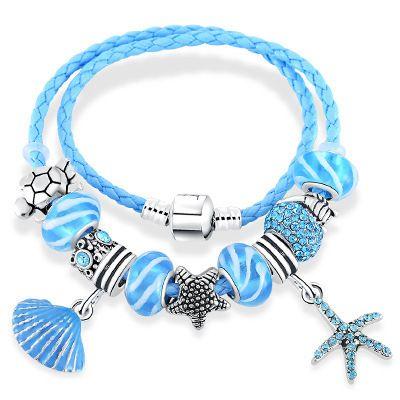 de5b9db74 Six Designs Silver Plated Fit Pandora Bracelets Murano Glass Beads Sealife Charms  Bracelet Leather Wrap Bracelets For Women Charm Bead Bracelets Wholesale ...