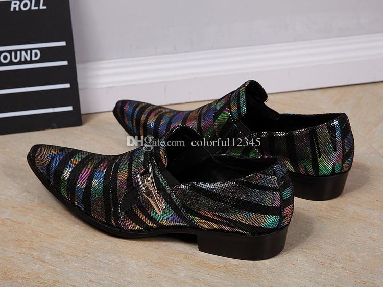 Modello di serpente punta a punta Sapato Masculino fibbia uomini d'affari in pelle scarpe Inghilterra stile colorato a righe abito da sposa scarpe