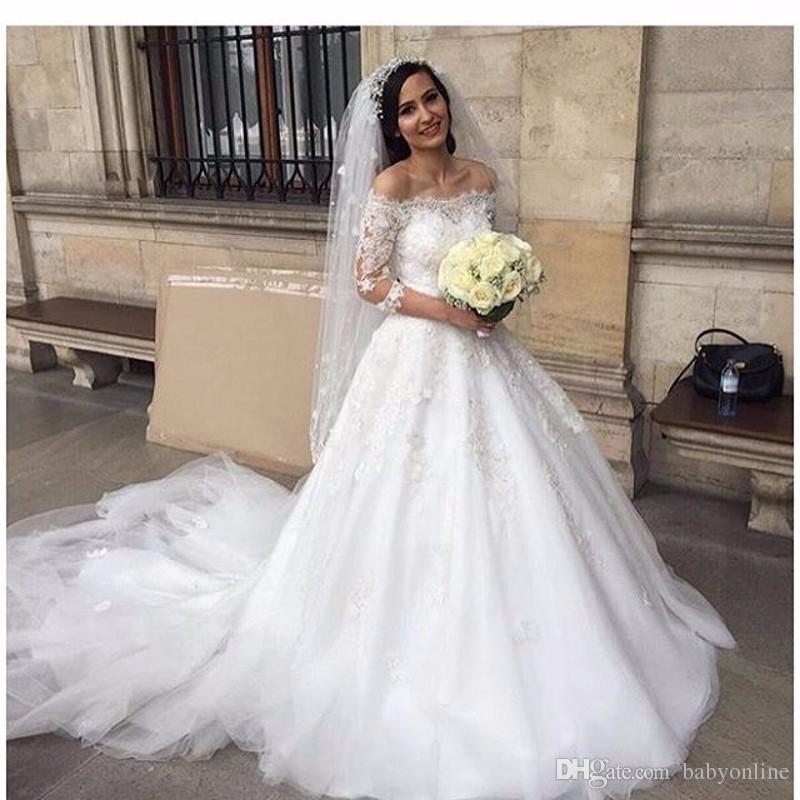 discount vestidos de novia 2018 spring new off shoulder a line