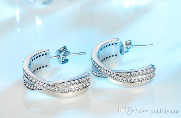 2017 Yeni Varış En kaliteli S925 Gümüş geometrik saplama küpe kadınlar için set wiith kristal E004