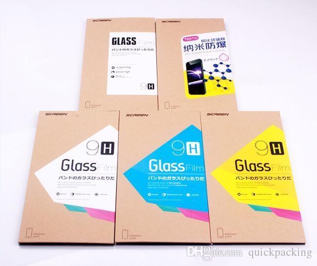 Etichetta della scatola di carta Kraft la copertura curva 3D della superficie piena Scatola al dettaglio Scatole imballaggio Samsung Galaxy S8 S9 Plus Nota 8