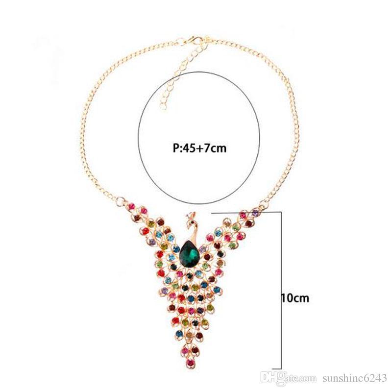 2017 nuevo diseño de pavo real de color dorado de lujo multicolor creado collar de diamantes para mujeres de la boda al por mayor envío gratis
