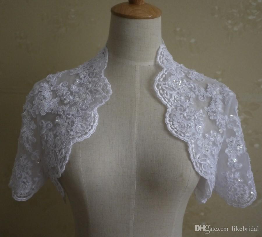 Sconto Lace Jacket Applique Beads 2019 Matrimoni Bridal Coat Maniche corte Giacca da sposa Bianco Avorio Foto reali Pizzo Bolero