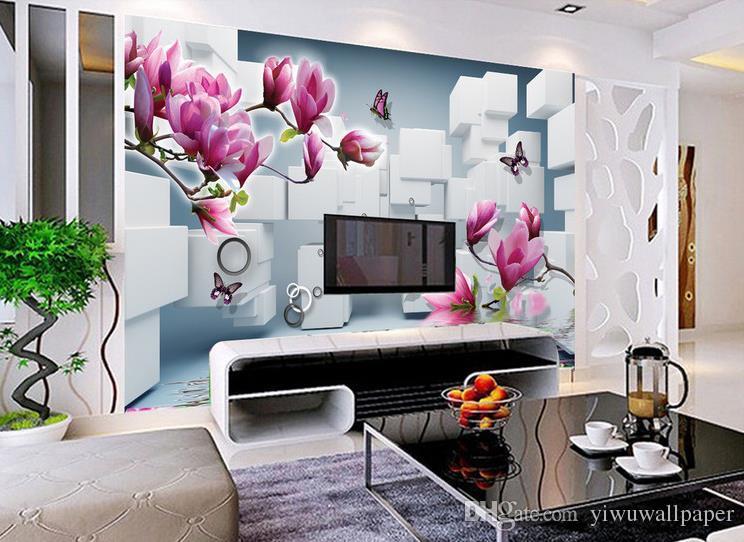 carta da parati 3d camera Magnolia rotonda acqua scatola sfondo fiori carta da parati dipinti murali 3d