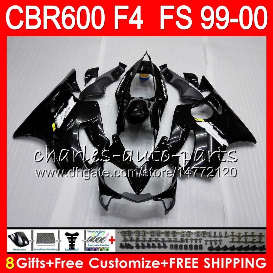 8Gifts Bodywork for HONDA CBR 600 F4 99-00 CBR600FS FS 30HM1 CBR600 F4 1999 2000 CBR 600F4 CBR600F4 99 00 페어링 키트 광택 검정