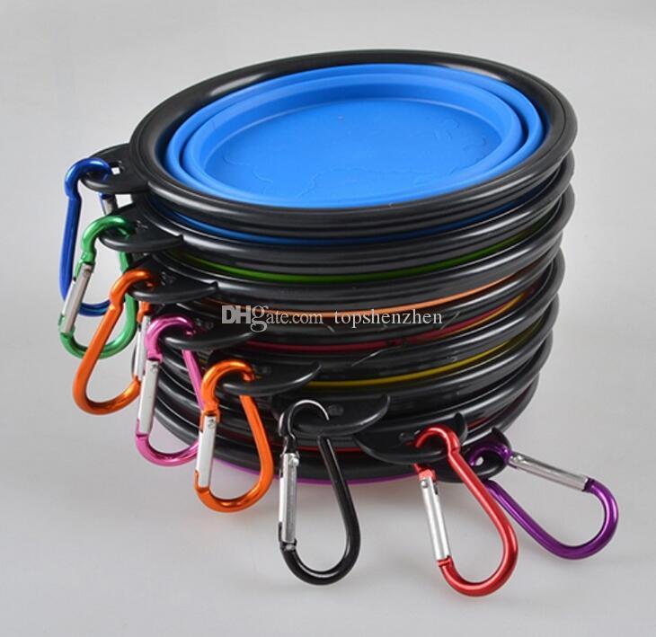 실리콘 접는 개 그릇 애완 동물을위한 팽창 식 컵 요리 음식 물 공급 휴대용 여행 그릇 Carabiner와 휴대용 물 그릇