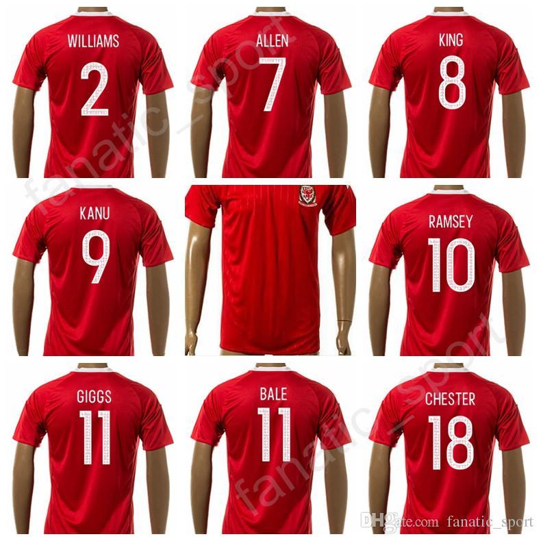 c8ec6fc6ddc 2019 Thailand Quality 11 Gareth Bale Welsh Soccer Jersey 2017 18 Custom 18  CHESTER 16 LEDLEY 9 KANU 8 KING Football Shirt Uniform Foot Tshirt From ...