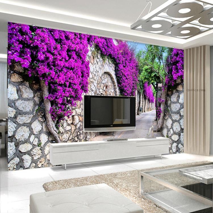 Etonnant Wholesale 3d Purple Flower Wall TV Backdrop Wallpaper Background Wallpaper  Living Room Sofa Mural Free Wallpaper Background Free Wallpaper Backgrounds  From ...