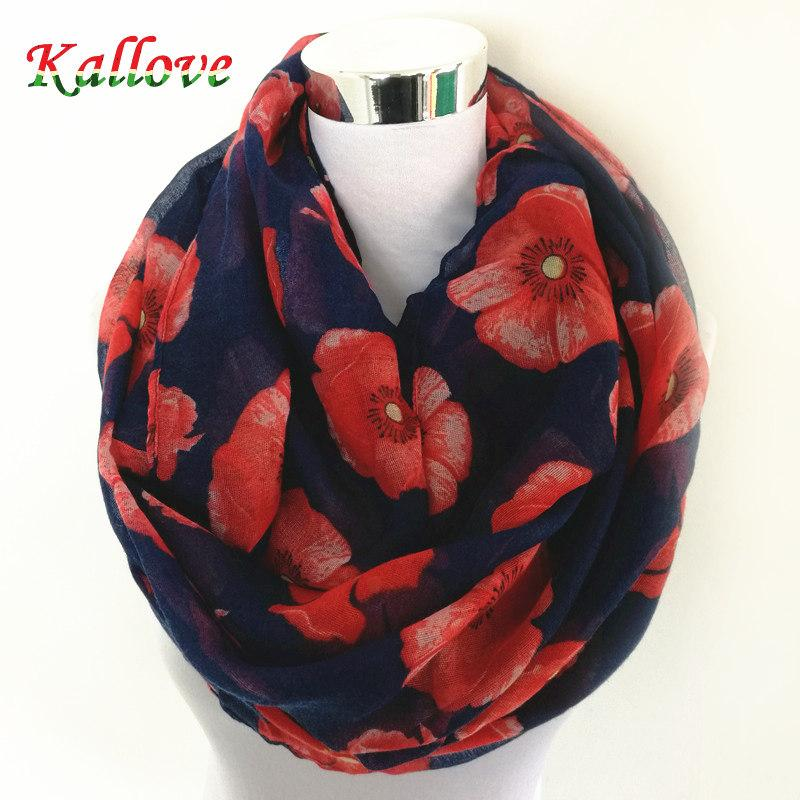 Wholesale- New Women Ladies Fashion Viscose Cotton big flowers Print infinity scarf Fashion Poppies Scarves Shawl Wrap hot sale neckerchief