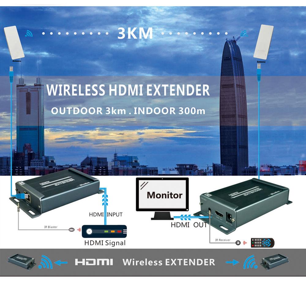 Wireless HDMI Extender IR Support 1080P extend up to 300m maximum indoor and 3KM maximum outdoor Wireless HDMI Extender 5.8GHZ (2)