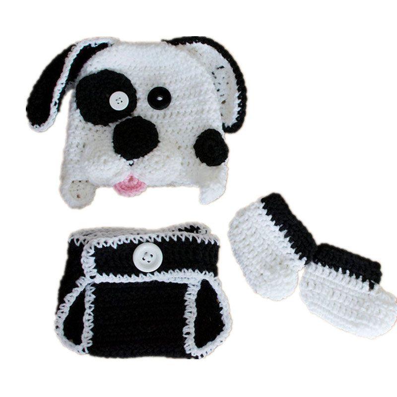 Newborn Puppy Costume,Handmade Knit Crochet Baby Boy Girl Dog Animal Hat Diaper Cover Booties Set,Infant Halloween Costume Photo Prop