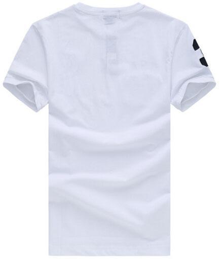 Yaz Erkek Klasik Tişörtler ABD Bayrağı Büyük At Nakış Pamuk Tişörtlü O-Boyun Spor Tees Lacivert Beyaz Kırmızı Boyut S-XXL Tops