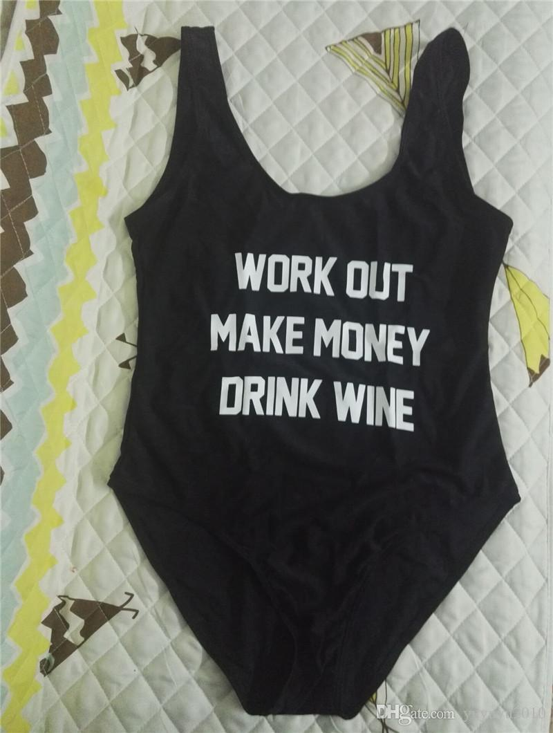 work OUT MAKE MONEY DRINK WINE One Piece swimsuit Backless swim suit women Funny Swimwear Bathing suit Monokini maillot de bain YWXK