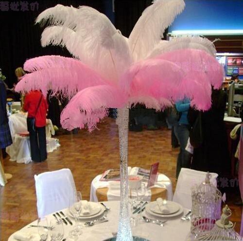 300 шт. В лот 20~25 см белый страус перо шлейф ремесленные принадлежности Свадебная вечеринка стол центральные украшения Бесплатная доставка