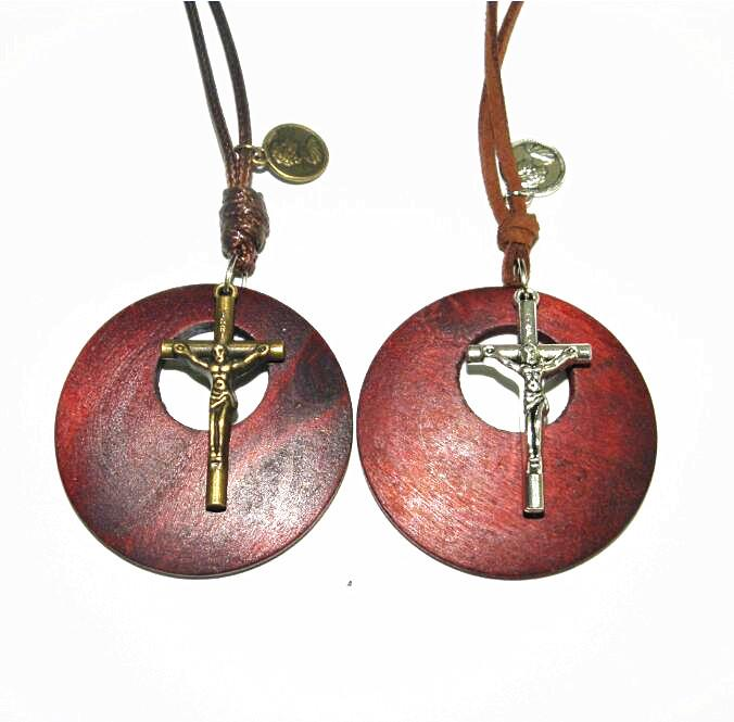 Carving Wooden Oval Round moon pendant necklace vintage Alloy cross Long sweater chain men women lovers jewelry handmade stylish