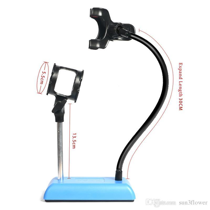 Evrensel Stüdyo Mikrofon Mikrofon Masası Masaüstü Standı Adaptörü ile Klip Finefun Cep Telefonu Canlı Tutucu Braketi Esnek Dağı