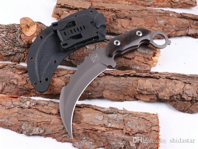 LW Titanium Claw Karambit Fixed Blade Knife 440C 57HRC Wood Handle Tactical Camping Hunting Survival Pocket Utility EDC Tools Man Collection