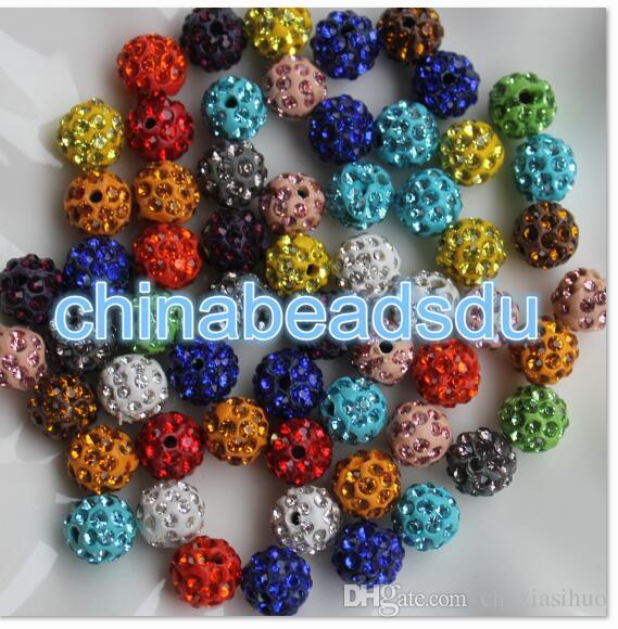 Fabrika toplu toptan 100 adet Çeşitli Renkler Kolye bilezik Takı charms akrilik kristal kaplamalı polimer kil boncuk