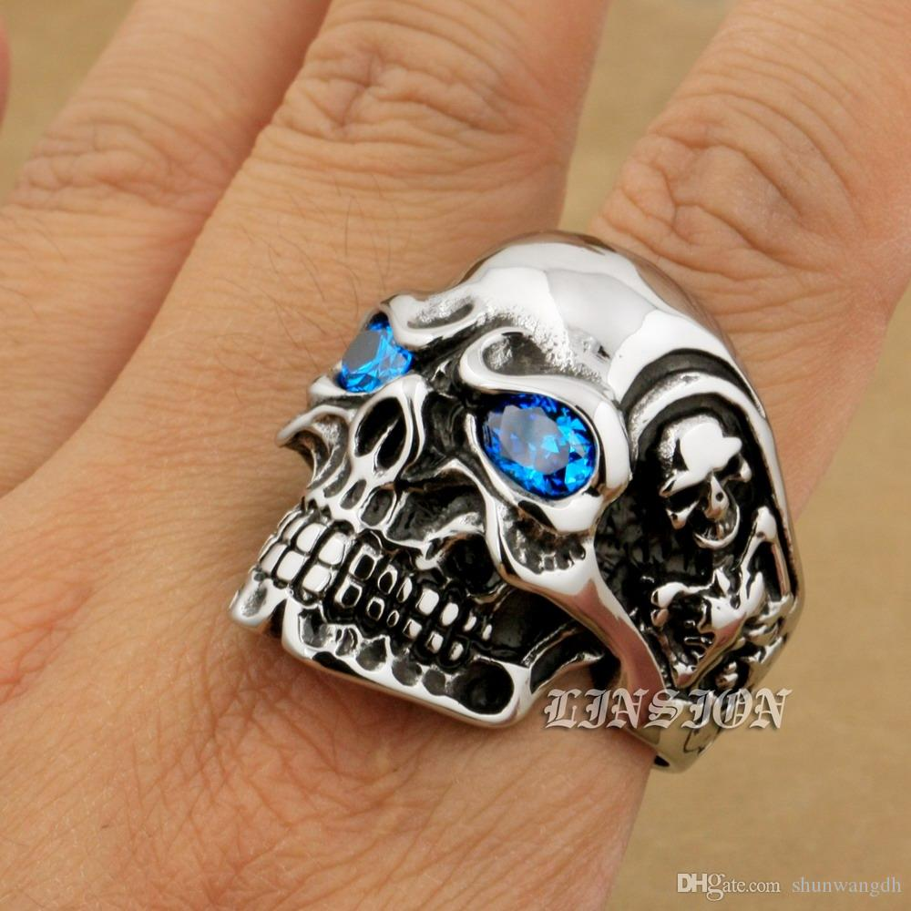 LINSION Huge Heavy 316L Stainless Steel Ellipse Blue CZ Eyes Titan Skull Mens Boys Biker Rock Punk Ring 3A201