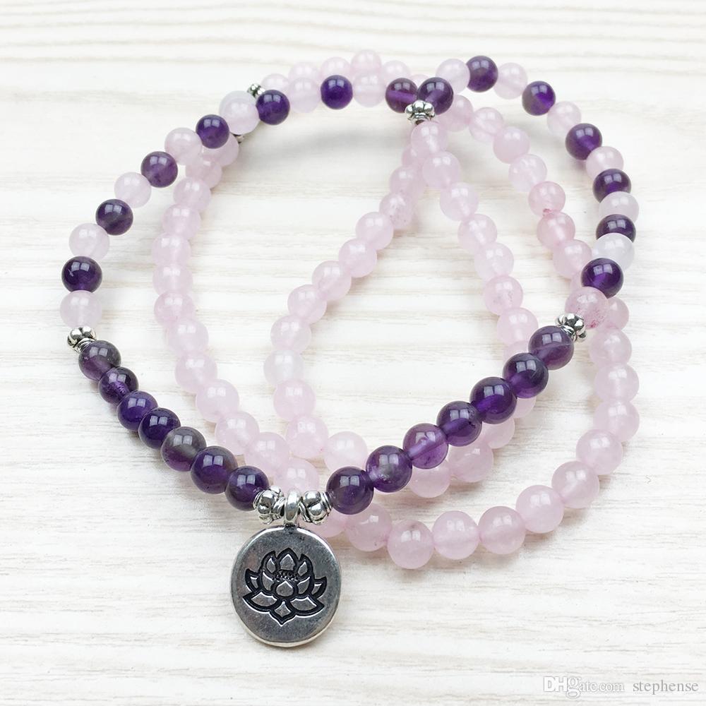SN1130 Lotus Mala Beads 108 Mala Necklace Buddhist 6mm Beads Rose Quartz Mala Jewelry Amethyst Yoga Bracelet