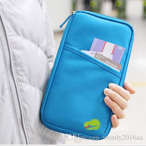 DHL free Cheap Candy Color Travel Passport Credit ID Card Holder Cash Wallet Organizer Bag Purse Wallet
