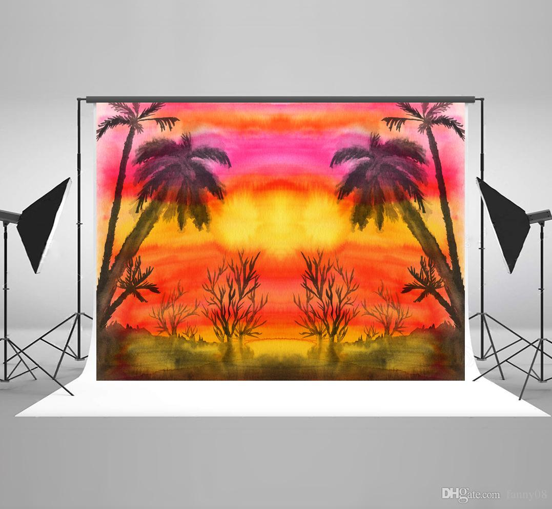 7x5ft(220x150cm) Oil Painting Style Photography Backgrounds Sunset Tree Photo Backdrop for Birthday Studio Backdrops