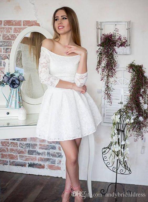 compre vestidos de novia cortos del cordón atractivo del hombro con