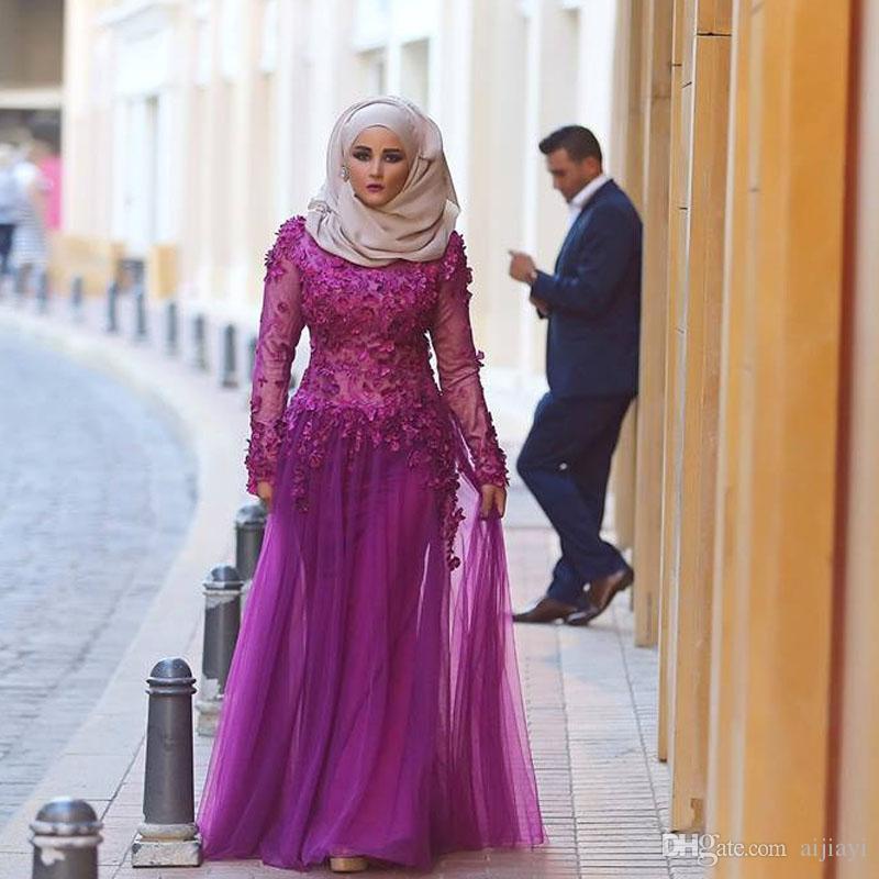 Compre Nueva Moda Mangas Largas Con Hijab Musulmanes Vestidos De ...