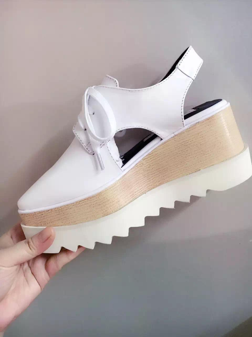 6342d4e6112e Stella Mccartney Sandals White Leather Wedge Platform Elyse Nina Shoes Shoes  For Sale Womens Loafers From Luischen