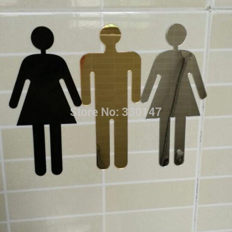2 unids WC Men, Mujeres Signo Acrílico 3d Espejo Etiqueta de La Pared Puerta Adesivo De Parede Decoración Del Hogar