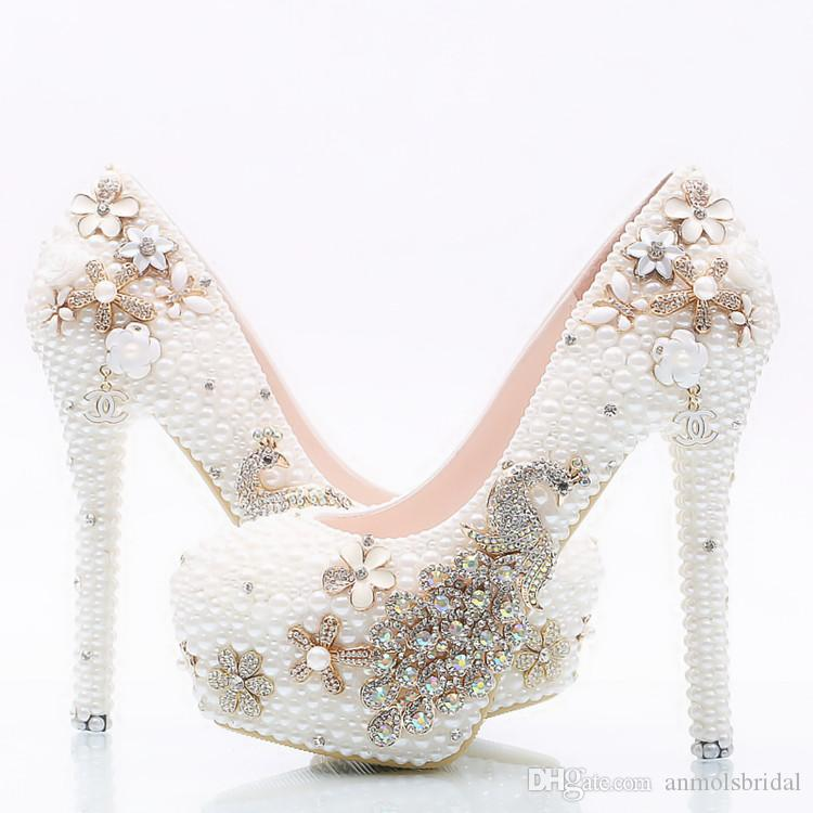7cb12c9cbd9247 Großhandel 5 8 11 14 CM Heels Cinderella Schuhe Handgemachte Prom Abend  High Heels Perlen Phoenix Strass Braut Brautjungfer Hochzeit Schuhe 081 Von  ...