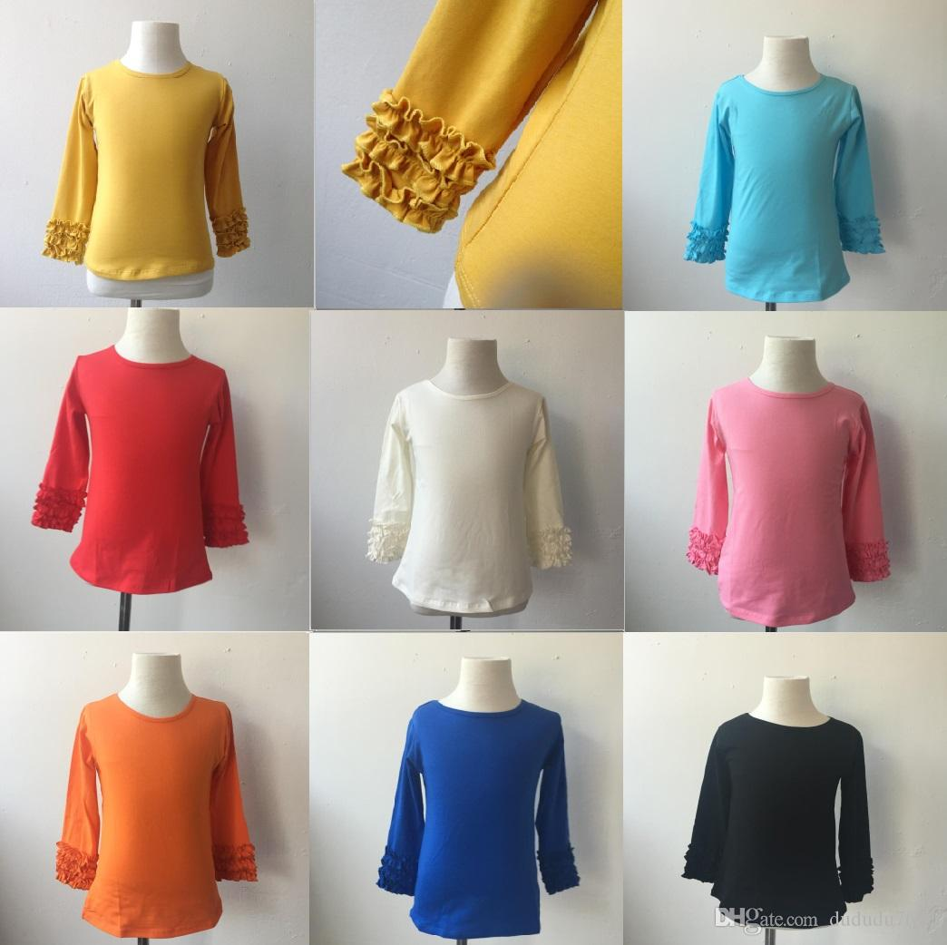 Bulk Wholesale Kids Solid Color Clothing Kids Wears Comfort Colors T-shirts Girls Sky Blue Icing Long Sleeve Shirts