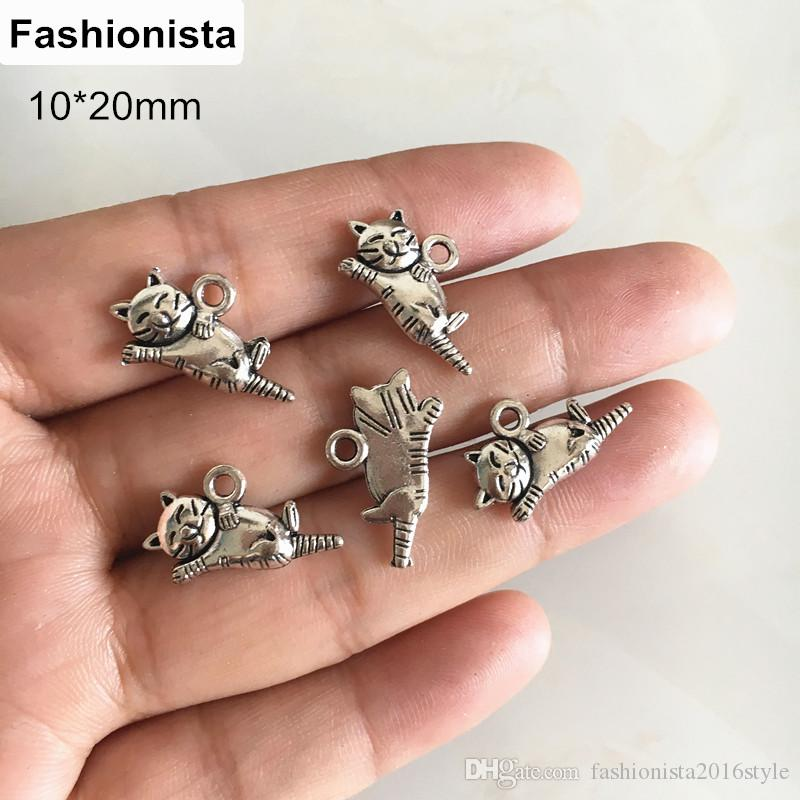 100 Pcs Cute Cats Charms Tibetan Silver Lovely Cat Charms Pendants For Jewelry Making Craft DIY 10*20mm