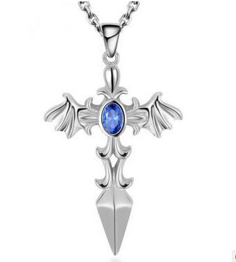 2017 New Arrival Top quality S925 Sterling Silver The blade of the angel pendant necklace for man set with crystal